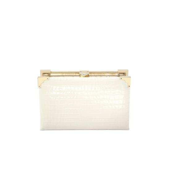 Book Clutch in Deep Shine Ivory Small Croc from Aspinal of London
