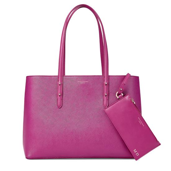 Regent Tote in Orchid Saffiano from Aspinal of London