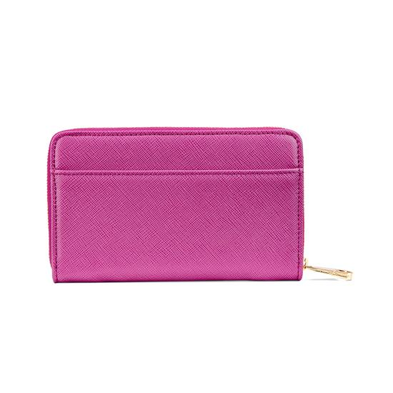 Midi Continental Clutch Zip Wallet in Orchid Saffiano from Aspinal of London