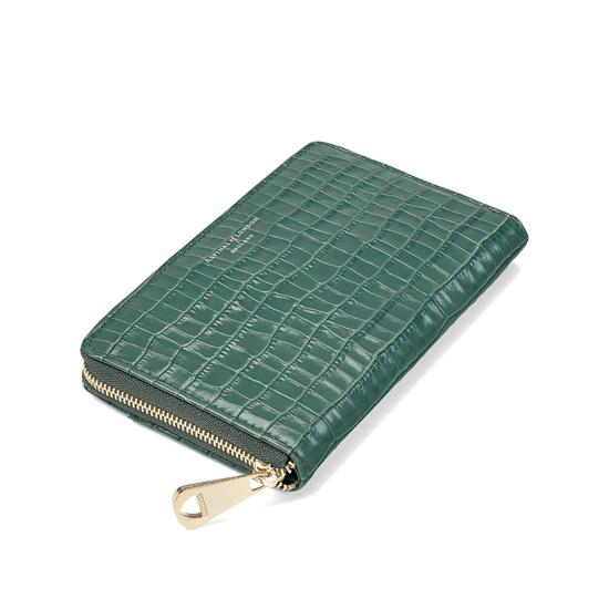 Midi Continental Clutch Zip Wallet in Deep Shine Sage Small Croc from Aspinal of London
