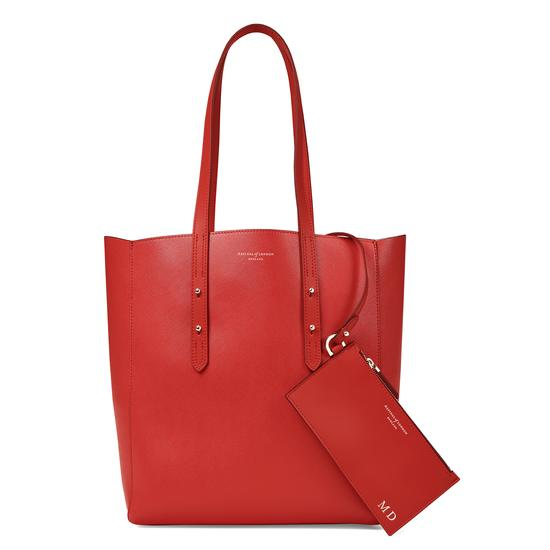 Aspinal Essential Tote in Scarlet Saffiano & Navy Suede from Aspinal of London