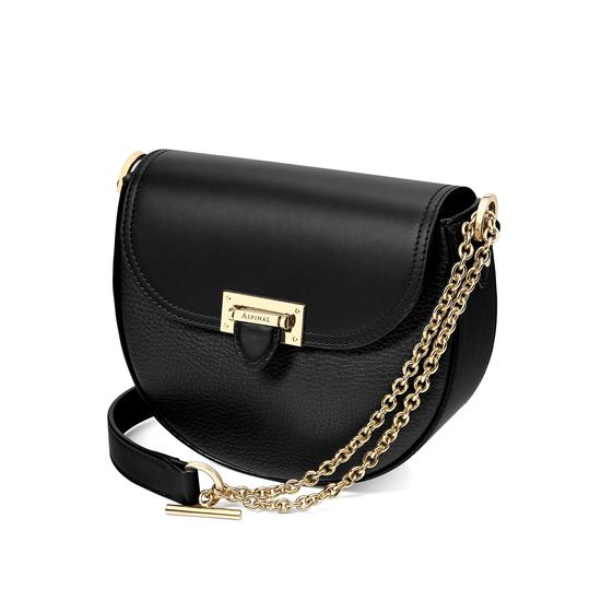 Portobello Bag with Chain in Black Pebble from Aspinal of London