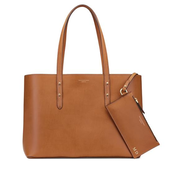 Regent Tote in Smooth Natural Tan & Cream Suede from Aspinal of London