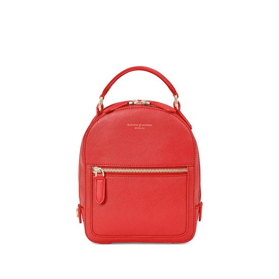 Micro Mount Street Backpack in Dahlia Saffiano from Aspinal of London