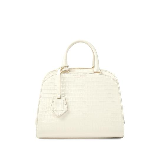 Mini Hepburn Bag in Deep Shine Ivory Small Croc from Aspinal of London