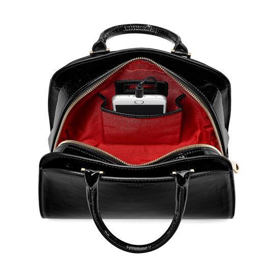 Mini Hepburn Bag in Deep Shine Black Patent from Aspinal of London