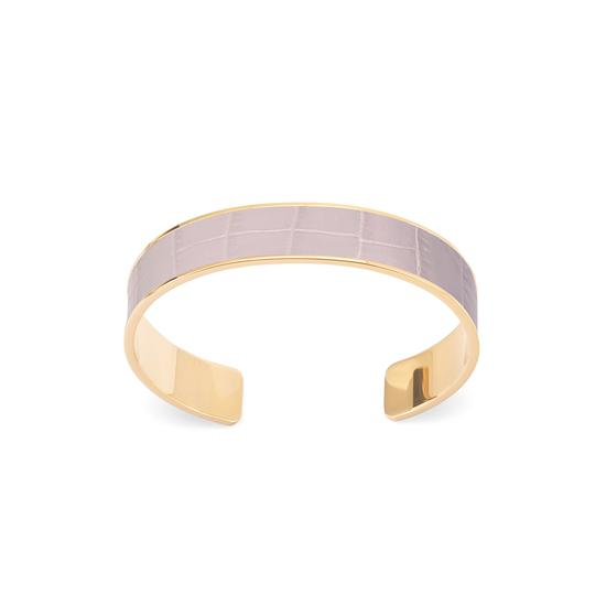 Cleopatra Skinny Cuff Bracelet in Deep Shine Lilac Small Croc from Aspinal of London