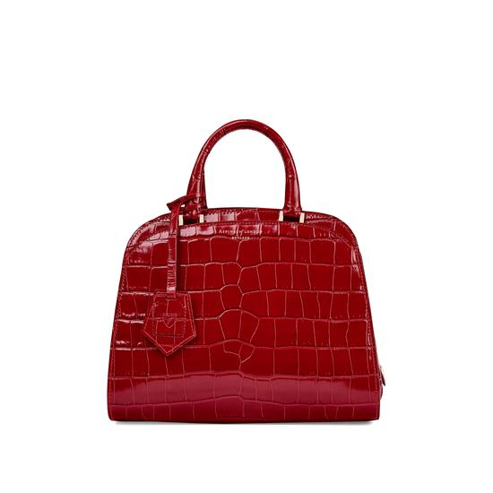 Mini Hepburn Bag in Deep Shine Red Croc from Aspinal of London