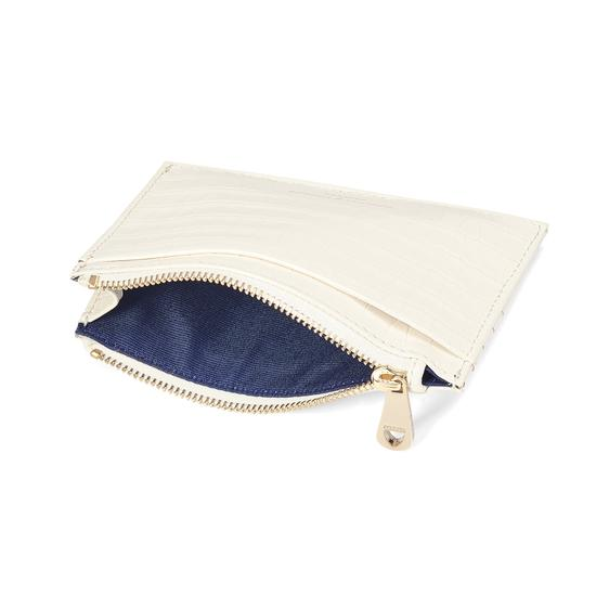 Double Sided Zipped Card & Coin Holder Deep Shine Ivory Small Croc from Aspinal of London