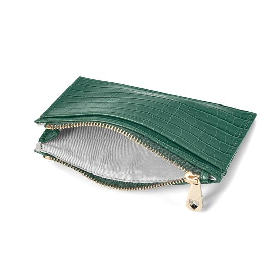 Double Sided Zipped Card & Coin Holder in Deep Shine Sage Small Croc from Aspinal of London