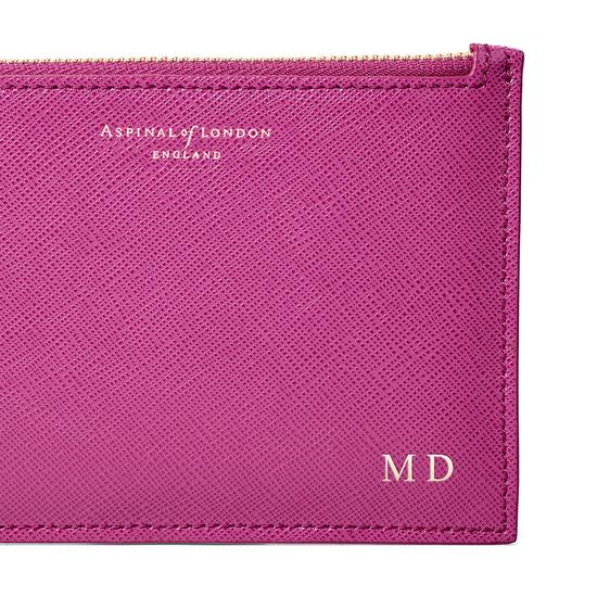 Small Essential Pouch in Orchid Saffiano from Aspinal of London