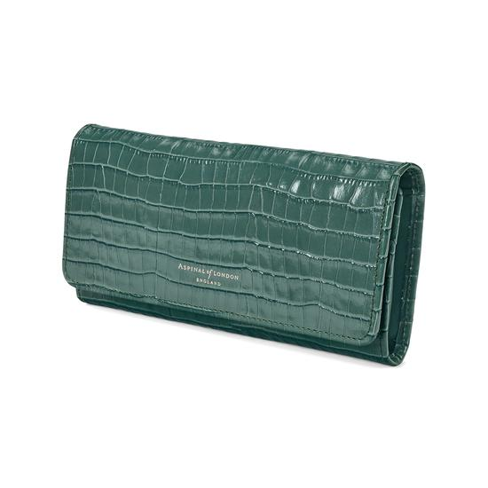 Lottie Purse in Deep Shine Sage Small Croc from Aspinal of London