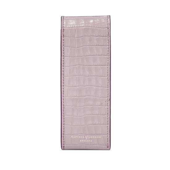 Small Pen Case in Deep Shine Lilac Small Croc from Aspinal of London