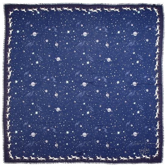 Pegasus Constellation Cashmere Blend Scarf in Midnight Blue (55