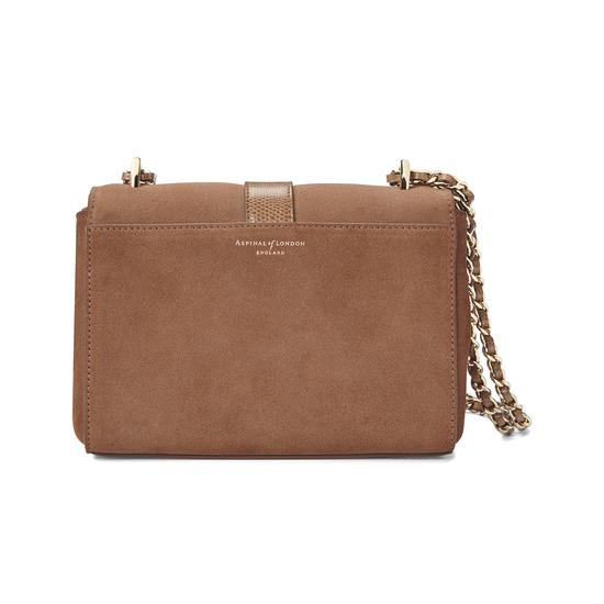 Small Lottie Bag in Camel Suede & Camel Lizard from Aspinal of London