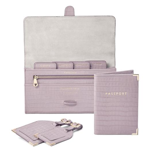 Classic Travel Collection in Deep Shine Lilac Small Croc from Aspinal of London