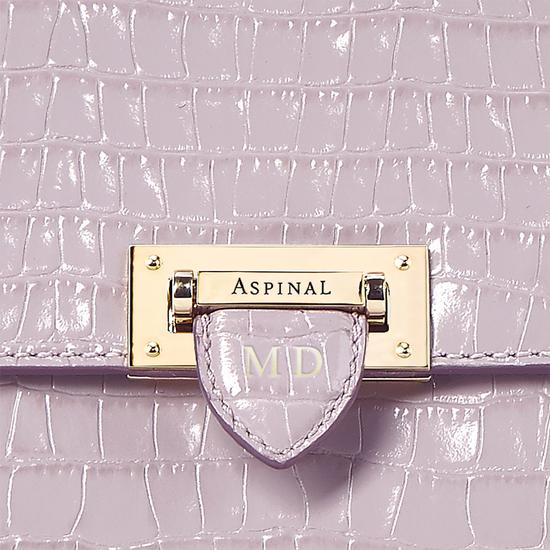 Soho Backpack in Deep Shine Lilac Small Croc with Deco Embroidered Strap from Aspinal of London