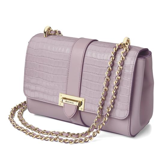 Small Lottie Bag in Deep Shine Lilac Small Croc from Aspinal of London
