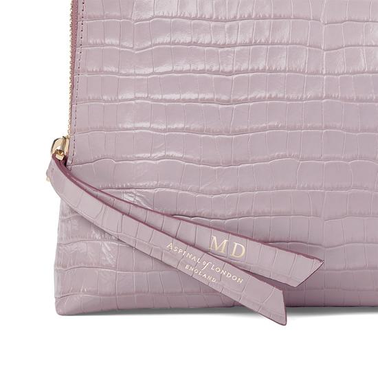 Large Essential Cosmetic Case in Deep Shine Lilac Small Croc from Aspinal of London