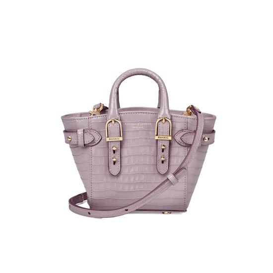 Micro Marylebone Tote in Deep Shine Lilac Small Croc from Aspinal of London