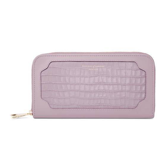 Marylebone Purse in Deep Shine Lilac Small Croc & Smooth Lilac from Aspinal of London