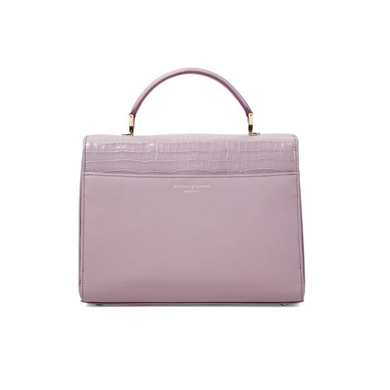 Mayfair Bag in Deep Shine Lilac Small Croc & Smooth Lilac with Stripe Strap from Aspinal of London