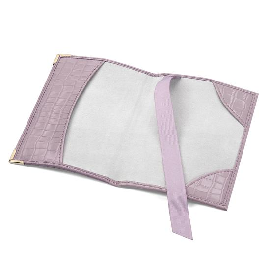 Passport Cover in Deep Shine Lilac Small Croc from Aspinal of London