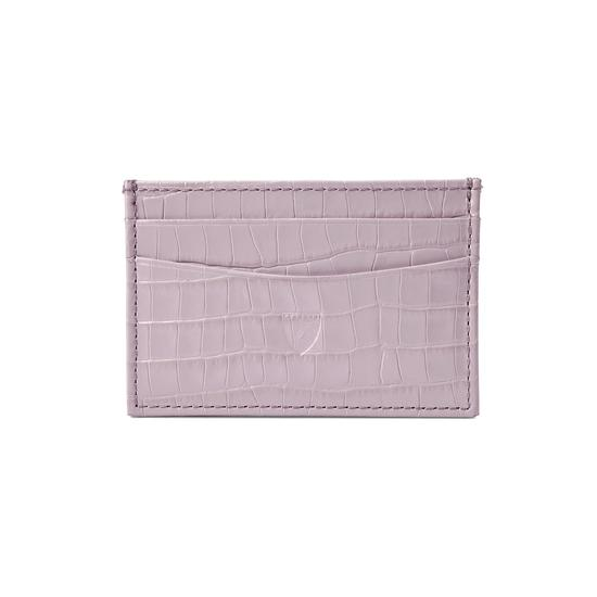 Slim Credit Card Case in Deep Shine Lilac Small Croc from Aspinal of London