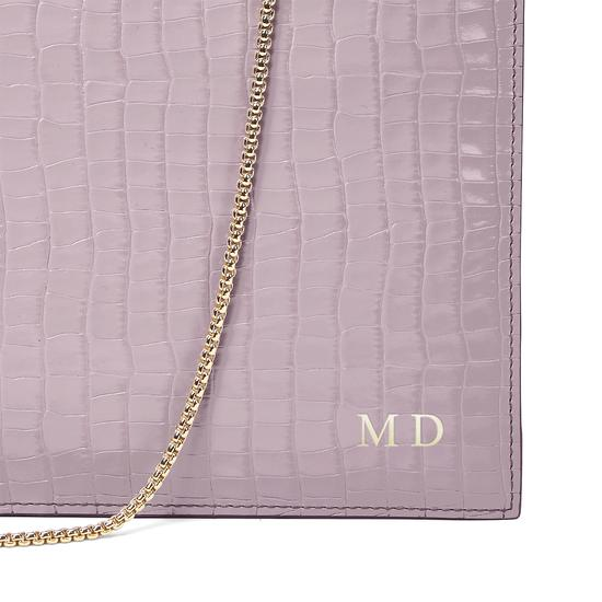Soho Clutch in Deep Shine Lilac Small Croc & Smooth Lilac from Aspinal of London