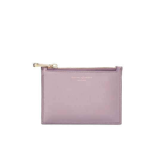 Small Essential Pouch in Smooth Lilac & Deep Shine Lilac Small Croc from Aspinal of London