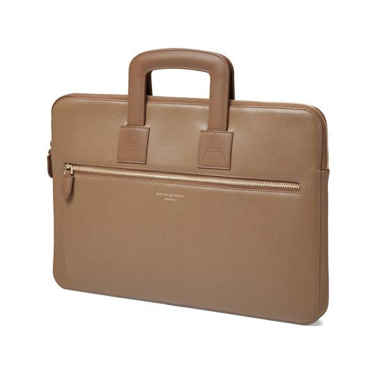 Connaught Document Case in Camel Saffiano from Aspinal of London