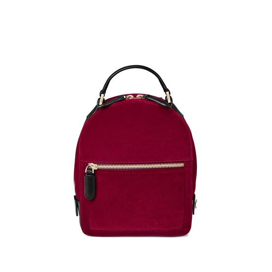 Micro Mount Street Backpack in Cherry Velvet from Aspinal of London
