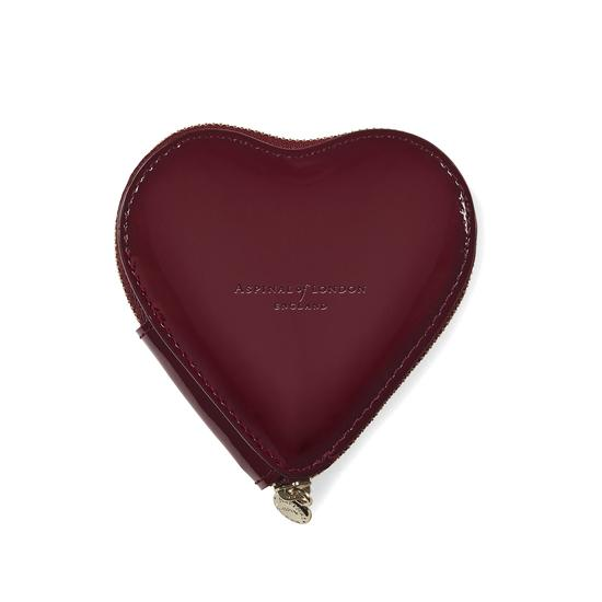 Heart Coin Purse in Deep Shine Cherry Patent from Aspinal of London