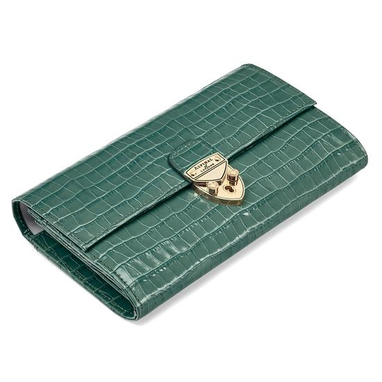 Mayfair Purse in Deep Shine Sage Small Croc from Aspinal of London