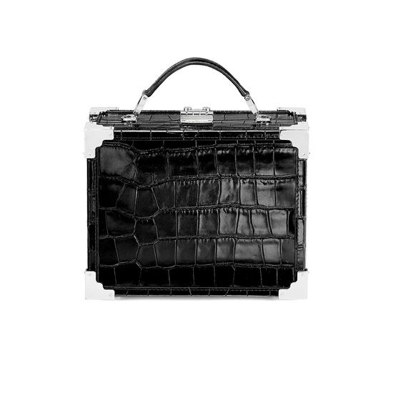 Mini Trunk Clutch in Deep Shine Black Croc from Aspinal of London
