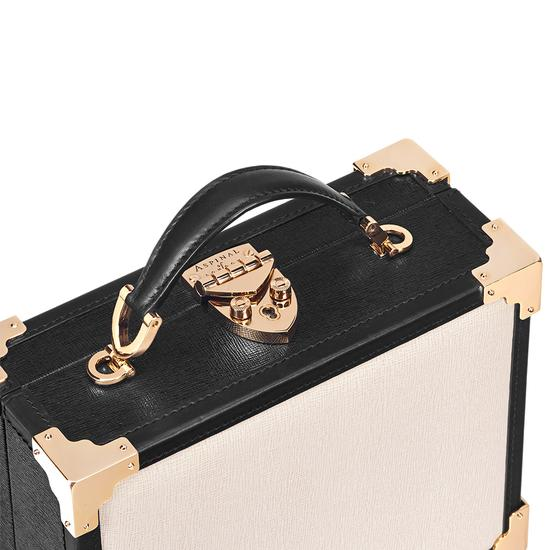 Mini Trunk Clutch in Monochrome Saffiano from Aspinal of London