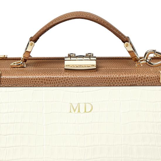 Mini Trunk Clutch in Deep Shine Ivory Small Croc & Camel Lizard with Zig Zag Strap from Aspinal of London