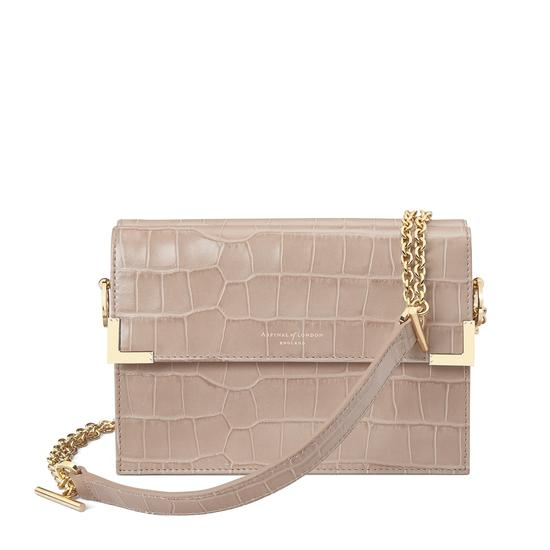 Chelsea Bag in Deep Shine Soft Taupe Croc from Aspinal of London