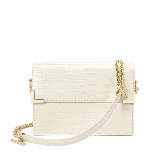 Chelsea Bag in Deep Shine Ivory Small Croc from Aspinal of London