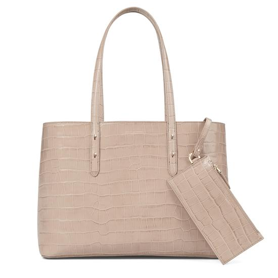 Regent Tote in Soft Taupe Croc from Aspinal of London