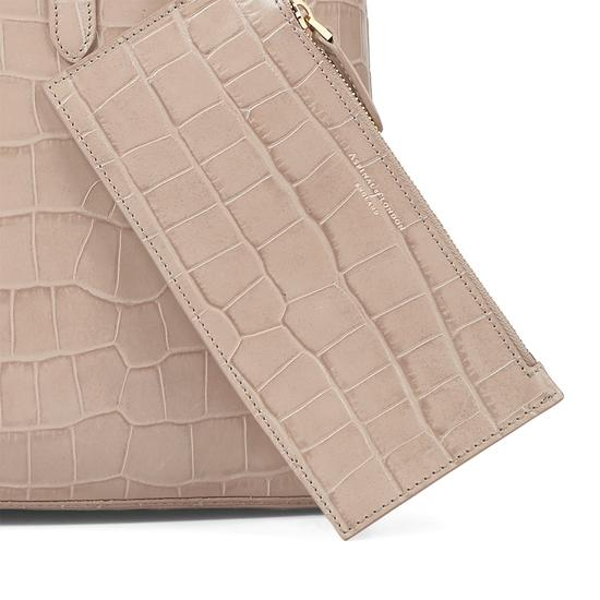 Regent Tote in Deep Shine Soft Taupe Croc from Aspinal of London