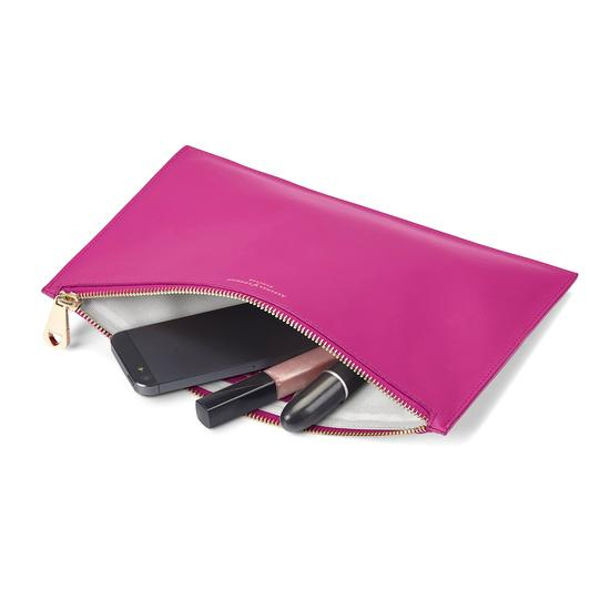Large Essential Flat Pouch in Orchid Saffiano from Aspinal of London