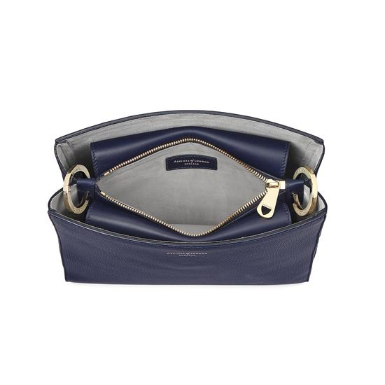 Small Ella Hobo in Bluemoon Pebble with Orchid & Navy Strap from Aspinal of London
