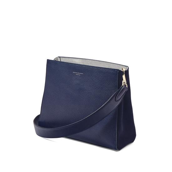 Small Ella Hobo in Bluemoon Pebble with Plain Strap from Aspinal of London
