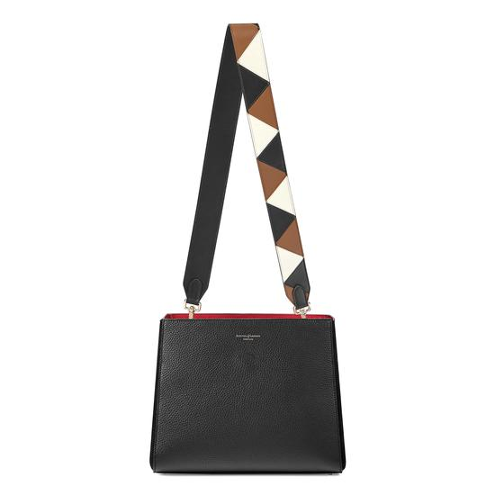 Small Ella Hobo in Black Pebble with Zig Zag Strap from Aspinal of London