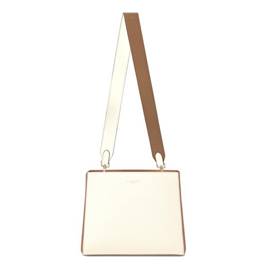 Small Ella Hobo in Ivory Pebble with Ivory & Camel Strap from Aspinal of London
