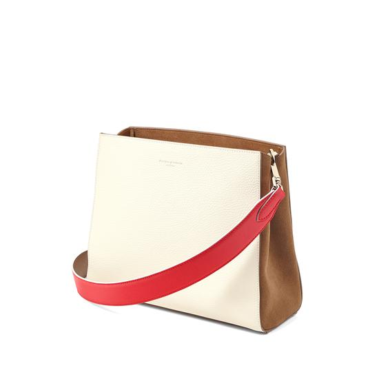 Small Ella Hobo in Ivory Pebble with Dahlia & Camel Strap from Aspinal of London