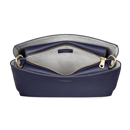 Large Ella Hobo in Bluemoon Pebble with Orchid & Navy Strap from Aspinal of London