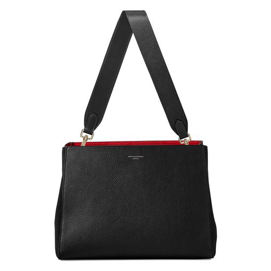 Large Ella Hobo in Black Pebble Suede with Plain Strap from Aspinal of London