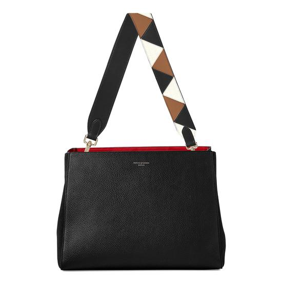 Large Ella Hobo in Black Pebble with Zig Zag Strap from Aspinal of London